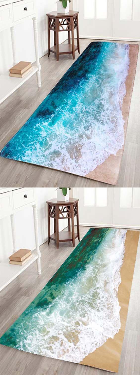 Sea Beach Print Flannel Skid Resistance Water Absorb Carpet | House ...