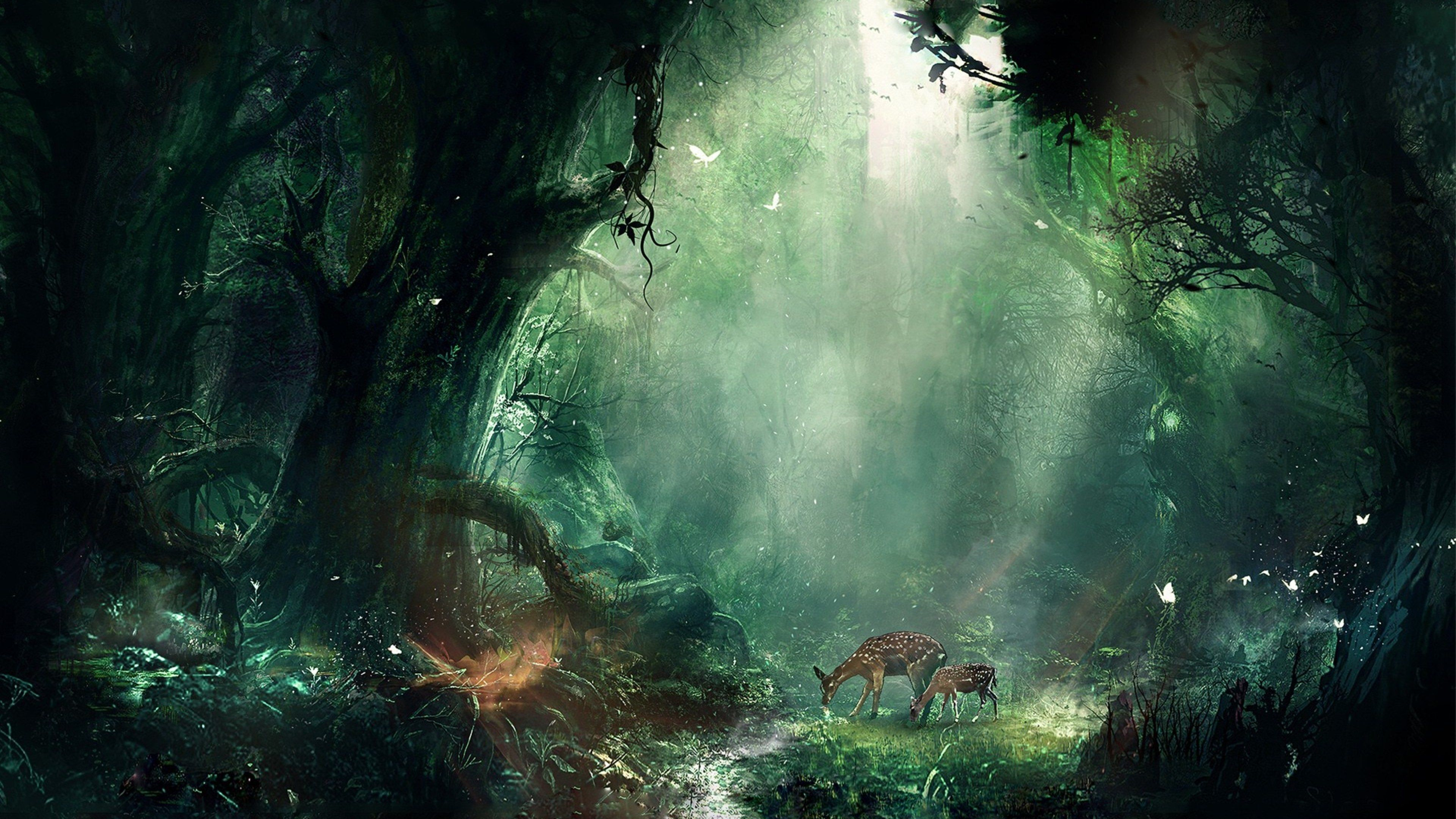 3840x2160 Creative 4k Hd Background Image Fantasy Landscape Fantasy Forest Deer Wallpaper