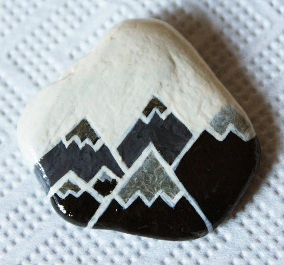 Snowy Mountains Alps White Winter Sky Hand Painted Geometric Design Stone Pebble Rock Brooch W Painted Rocks Rock Painting Designs Rock Painting Ideas Easy