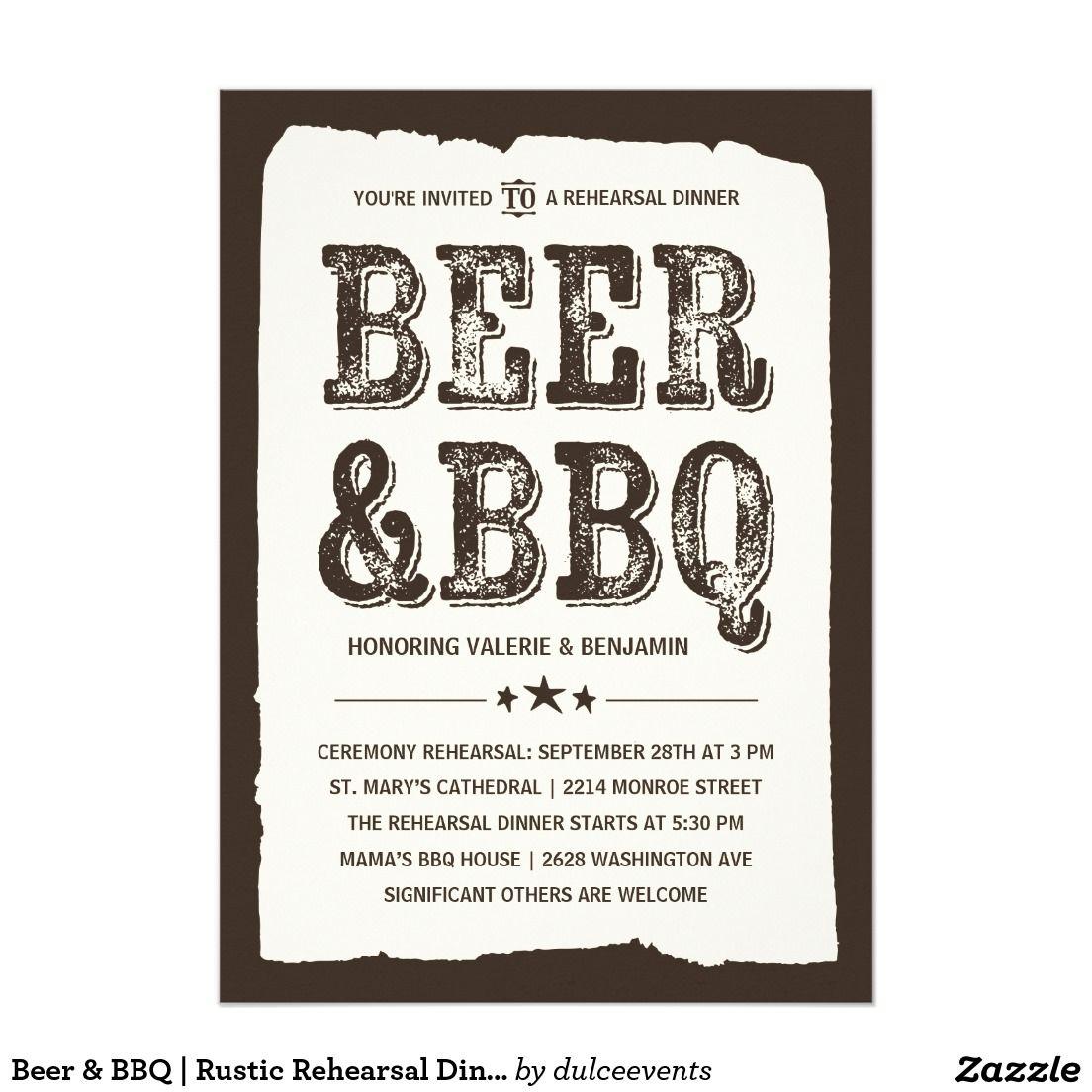 Beer & BBQ | Rustic Rehearsal Dinner Card | Rustic rehearsal dinners
