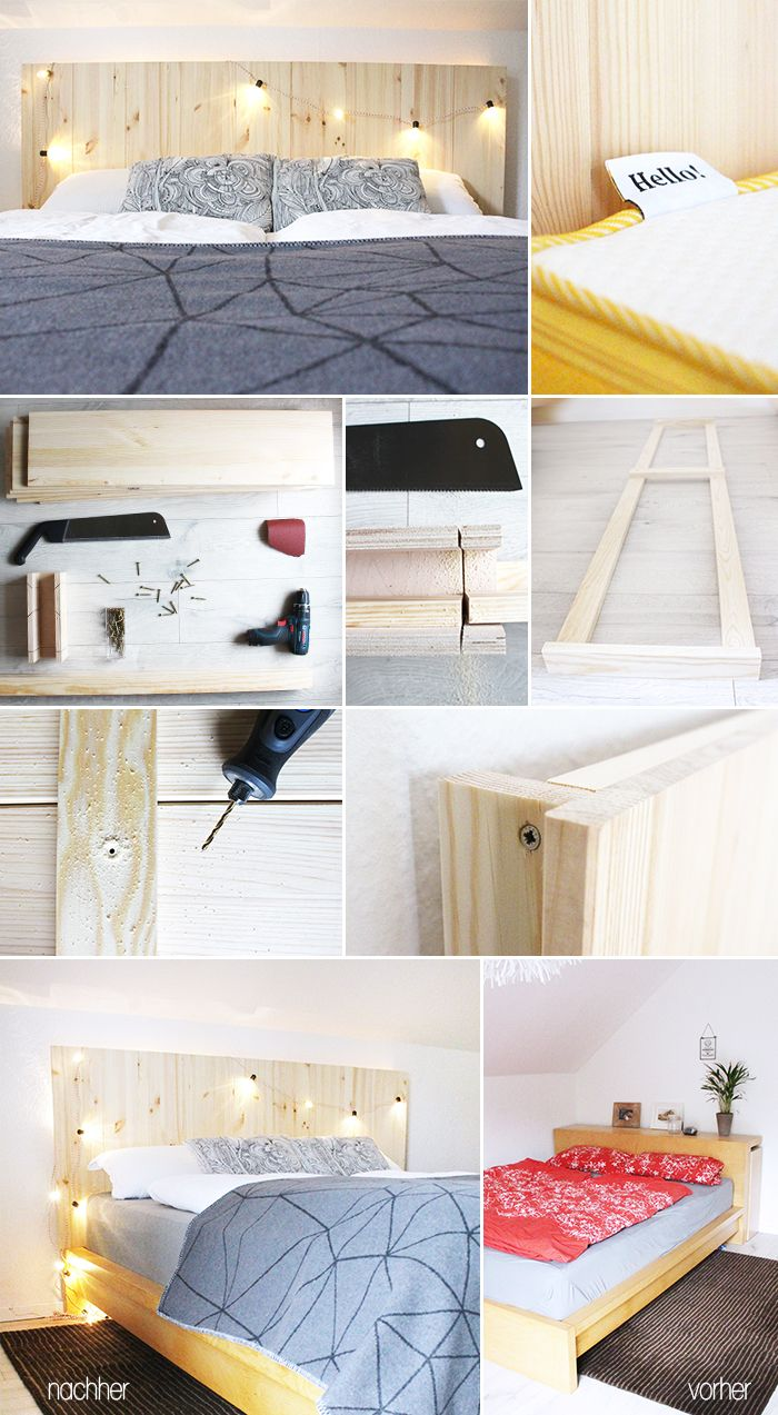 diy bauen kopfteil bett malm ikea hack eve mattress matratzentest holz ideas pinterest. Black Bedroom Furniture Sets. Home Design Ideas