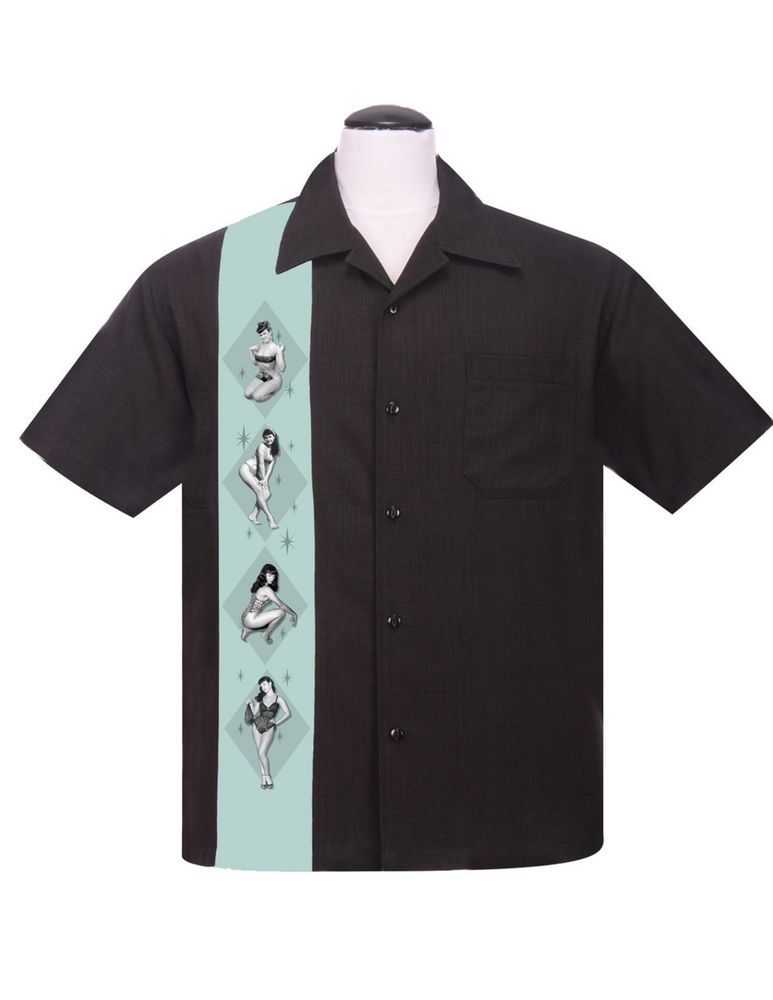 Route 66 Embroidery Bowling Shirts 50s Rock n roll Mens Rockabilly Vintage