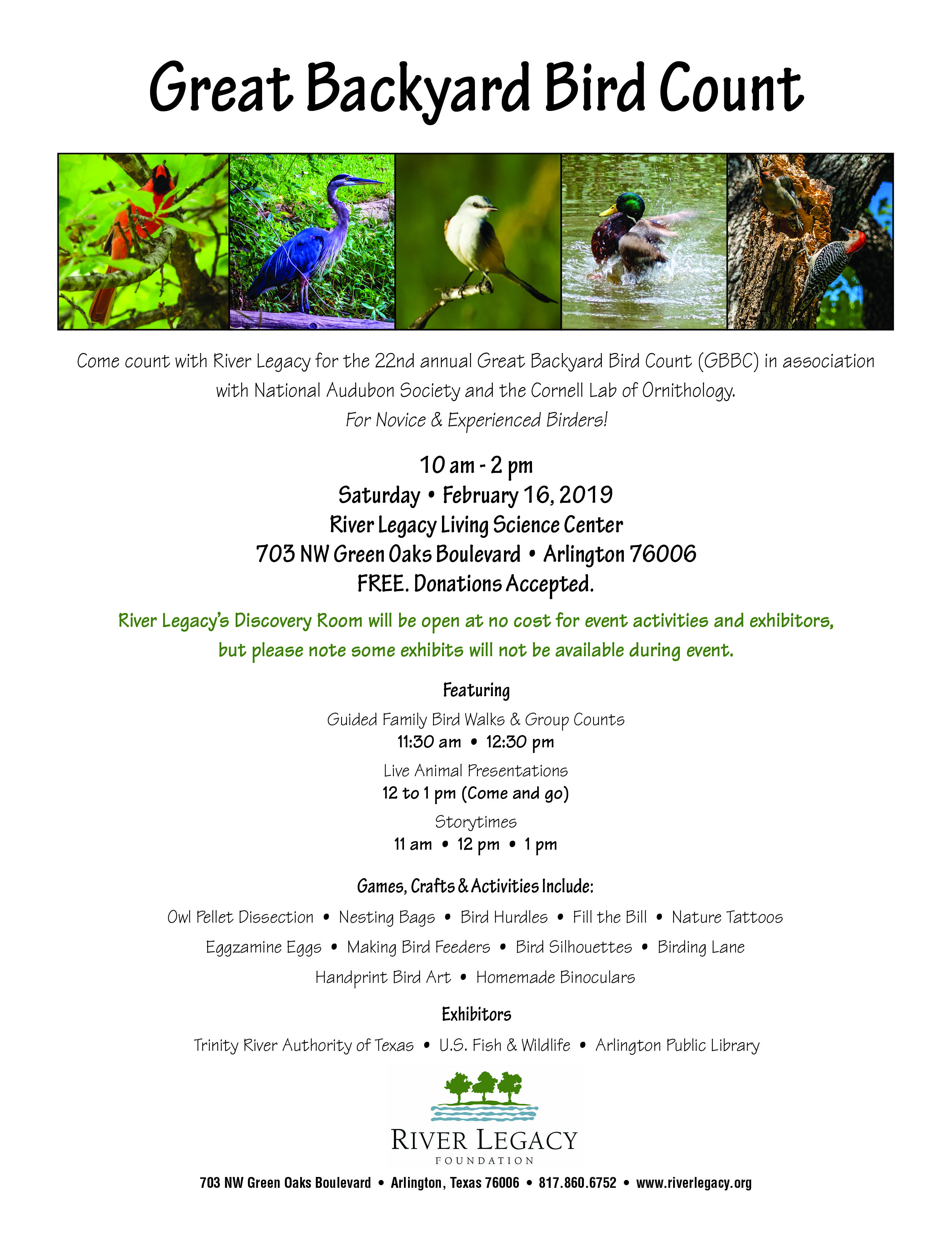 Make plans now to join us for our FREE Great Backyard Bird ...