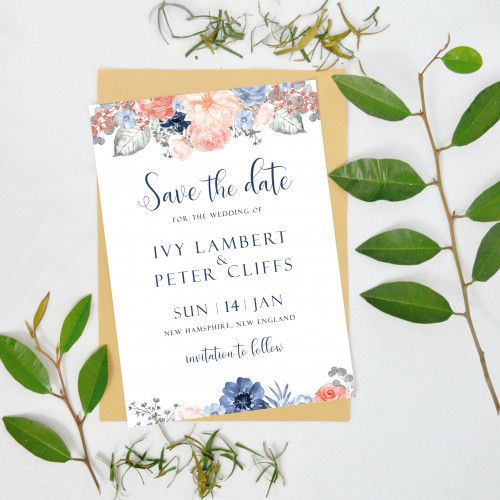 save the date template with navy and blush florals