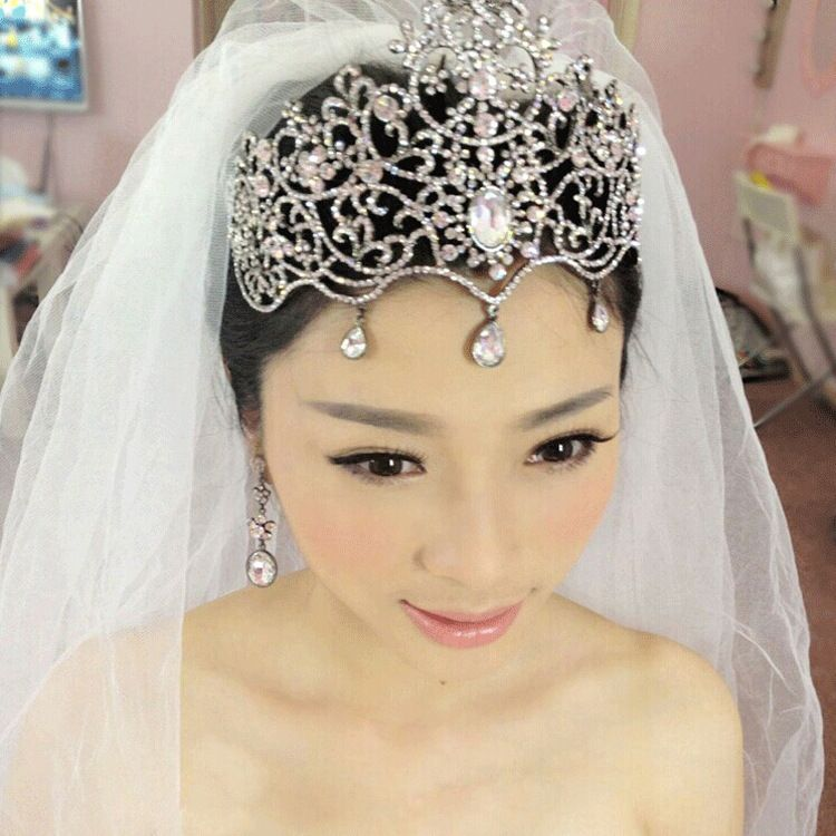 2015 Fashion Large Crystal Bridal Tiara Wedding Hair Jewelry Women Pageant Crowns Clearance Accessories