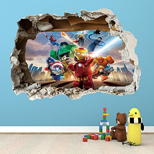 LEGO SUPER HEROES SMASHED WALL STICKER D BEDROOM BOYS Https   Lego  Superhero Wall Decals
