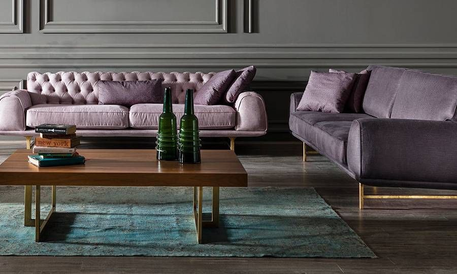 Chesterfield Sofa Couch Polstergarnitur rose lila 3+3+1 Nepal - wohnzimmer creme grun