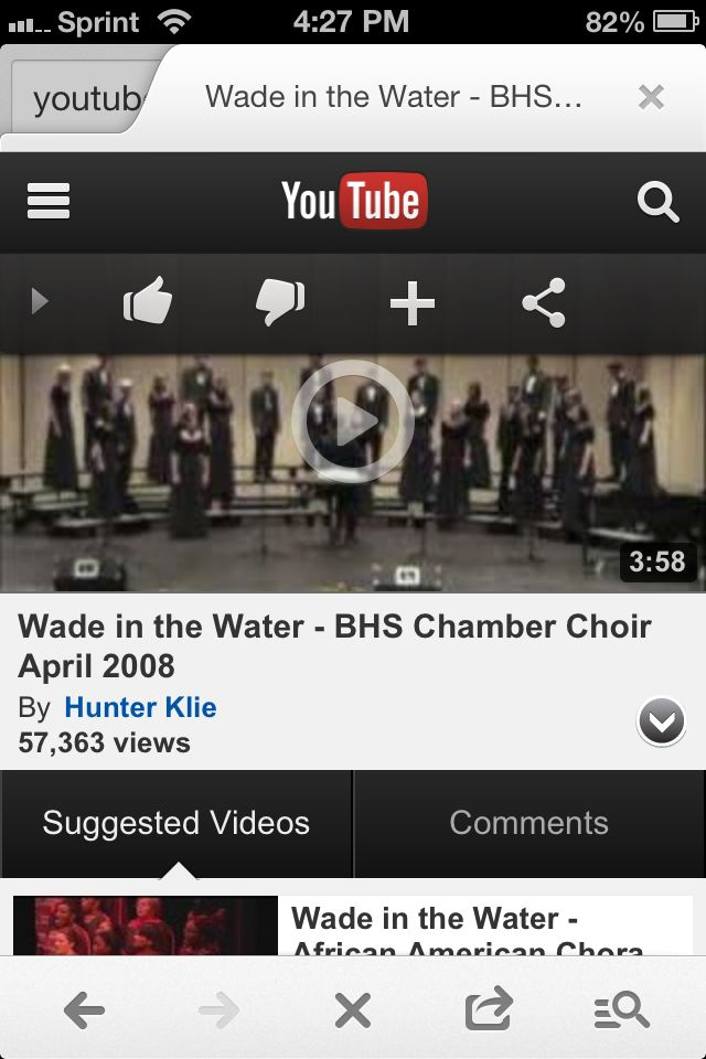 My choir teacher in high school singing Wade in the Water. She is the solo. Please watch on YouTube and re-pin.