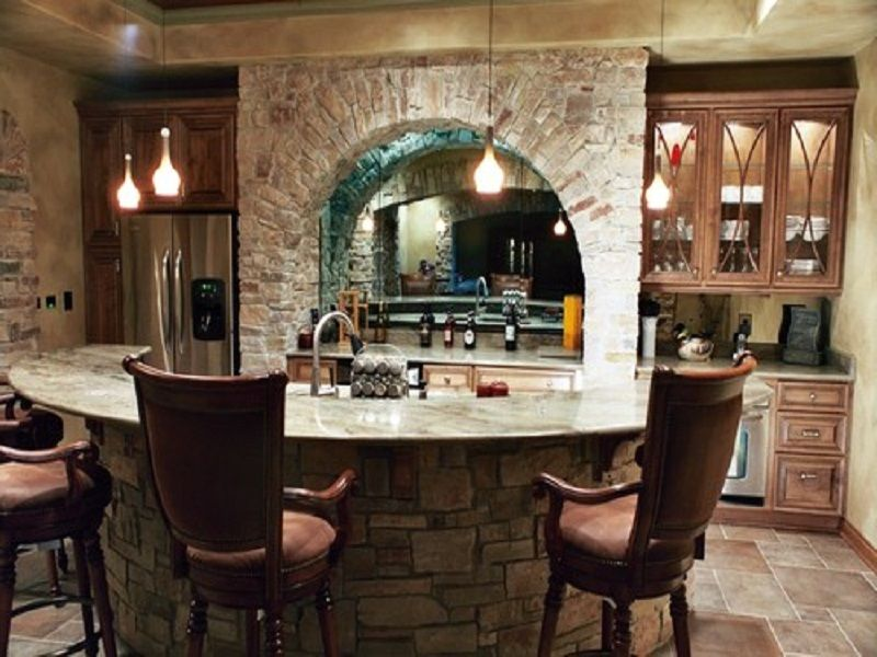 Awesome Basement Wet Bar Designs Which Beautify Your House : Rustic Basement Wet  Bar Ideas With Round Island