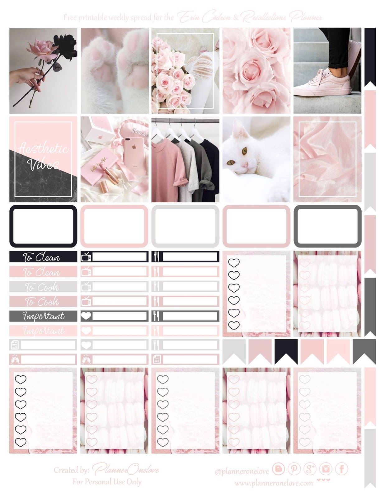 Free Printable Aesthetic Vibes Planner Stickers With Silhouette