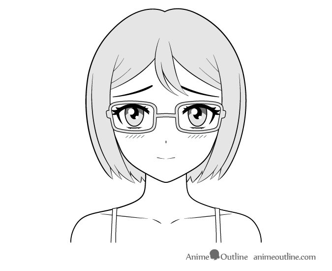 Anime Bookworm Girl Shy Face Drawing Anime Eye Drawing Anime Character Drawing Happy Face Drawing