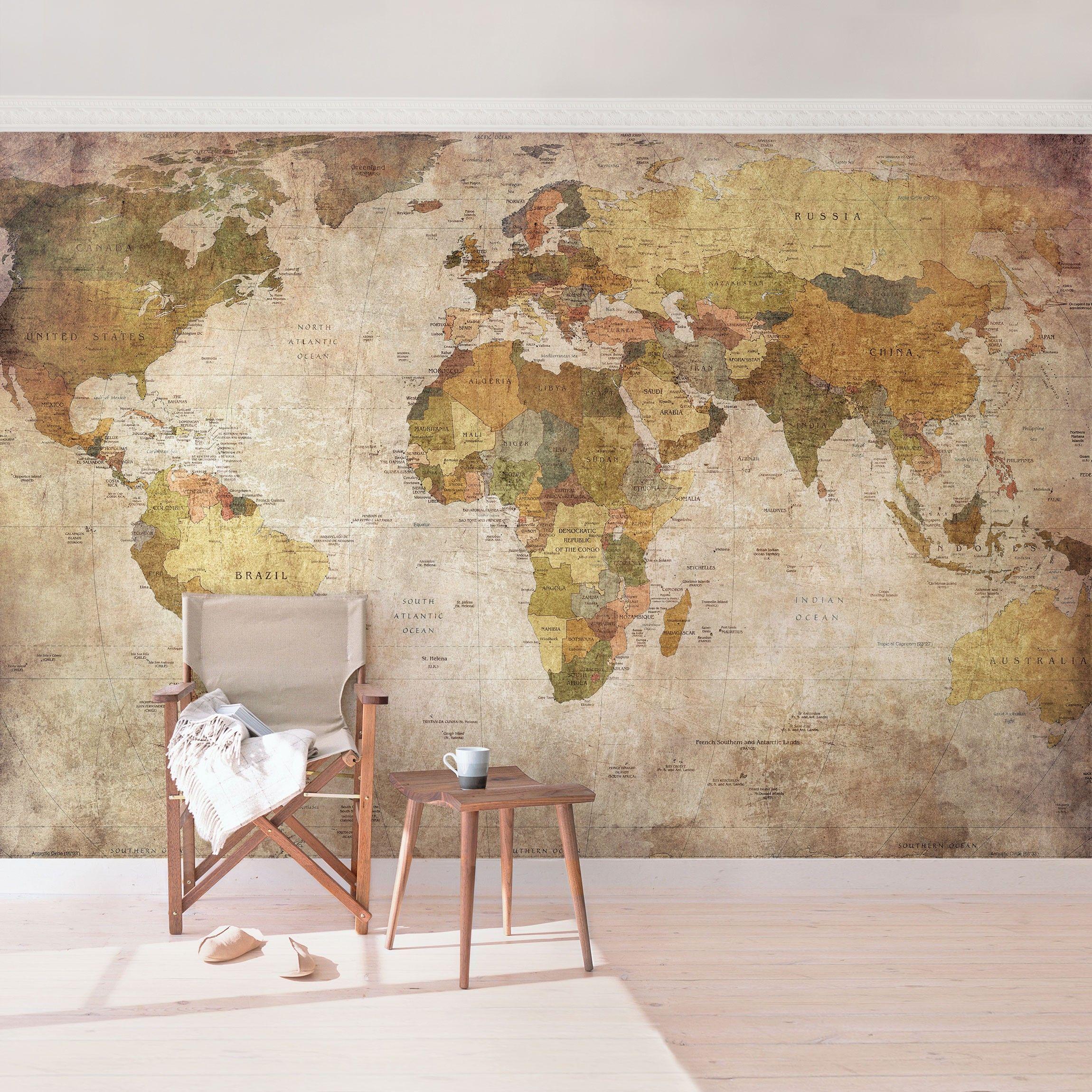 Non Woven Wallpaper Worldmap Mural Wide World Map Wallpaper