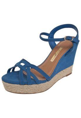 7c418e61a Sandália Via Marte Anabela Corda Azul | Sapatos | Anabela, Calças ...