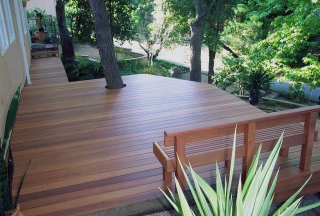 Design Decks Built In Bench Designs Decking Deck With Trees