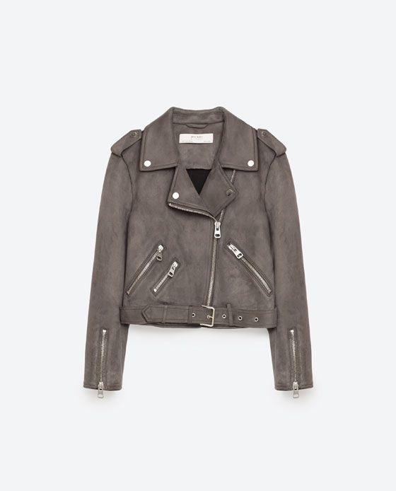 image 11 of suede effect jacket from zara for me pinterest gris zara et vestes. Black Bedroom Furniture Sets. Home Design Ideas