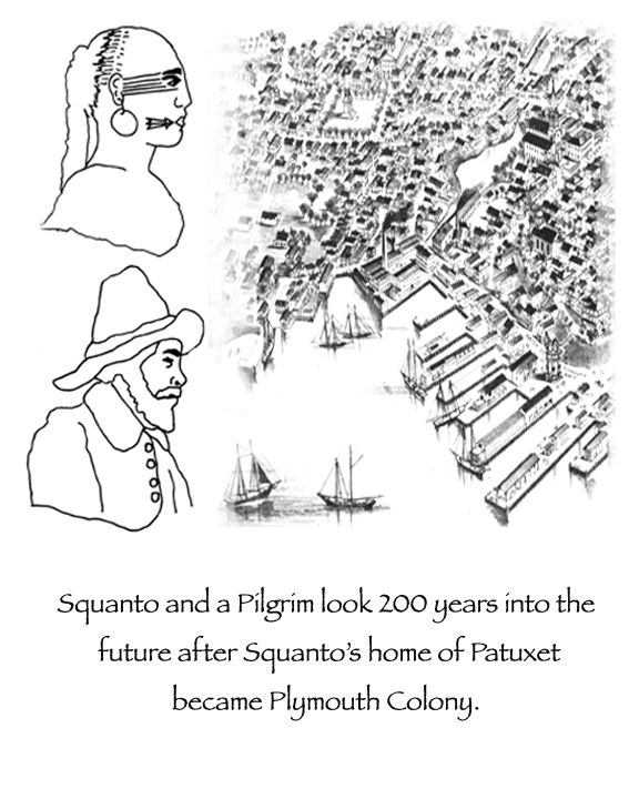 Squanto and a Pilgrim man look into the future through a