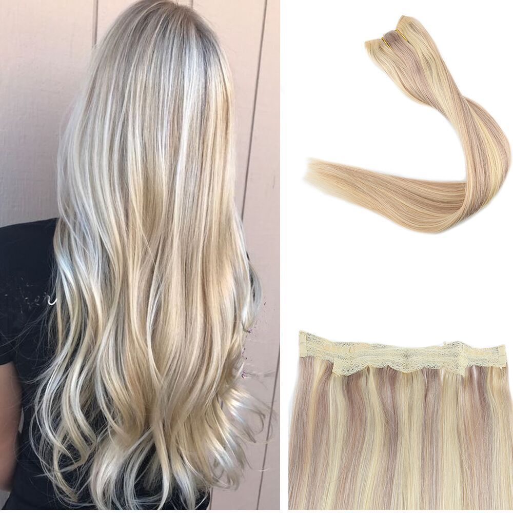 100 Flip Human Hair Extensions Halo Style No Clip No Tape Piano