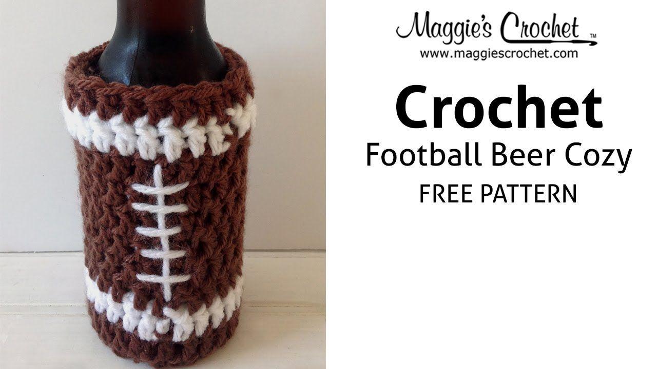 Football Beer Cozy Free Crochet Pattern - Right Handed | crochet ...