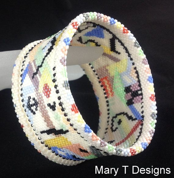 Abstract Beadwoven Bangle ... April EBWC Challenge by MaryTDesigns, $75.00