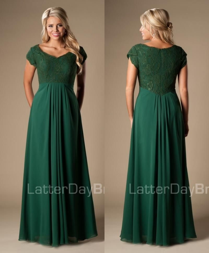 e65550499be Simple Forest Green Maxi Long A-line Lace Chiffon Full Length Modest  Bridesmaid Formal Dresses With Cap Sleeves Wedding Party Dresses Formal