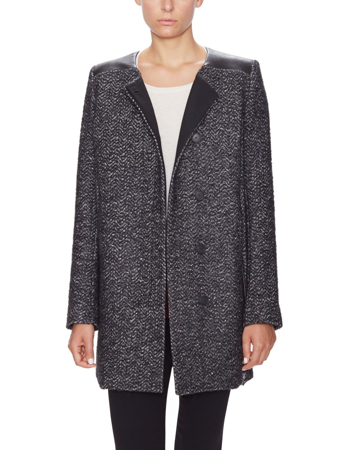 Wool Leather Accented Collarless Jacket Collarless