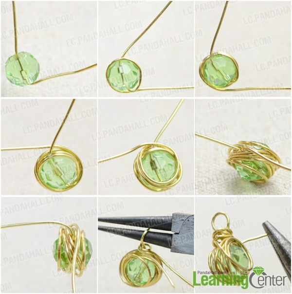 Step 1: Messy wire wrap emerald green bead