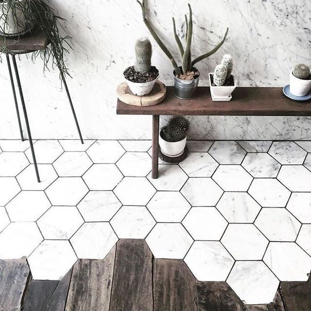 Transition Wood Floor To Tile Ideas: Love The Transition Between Wood And Hexagon Marble