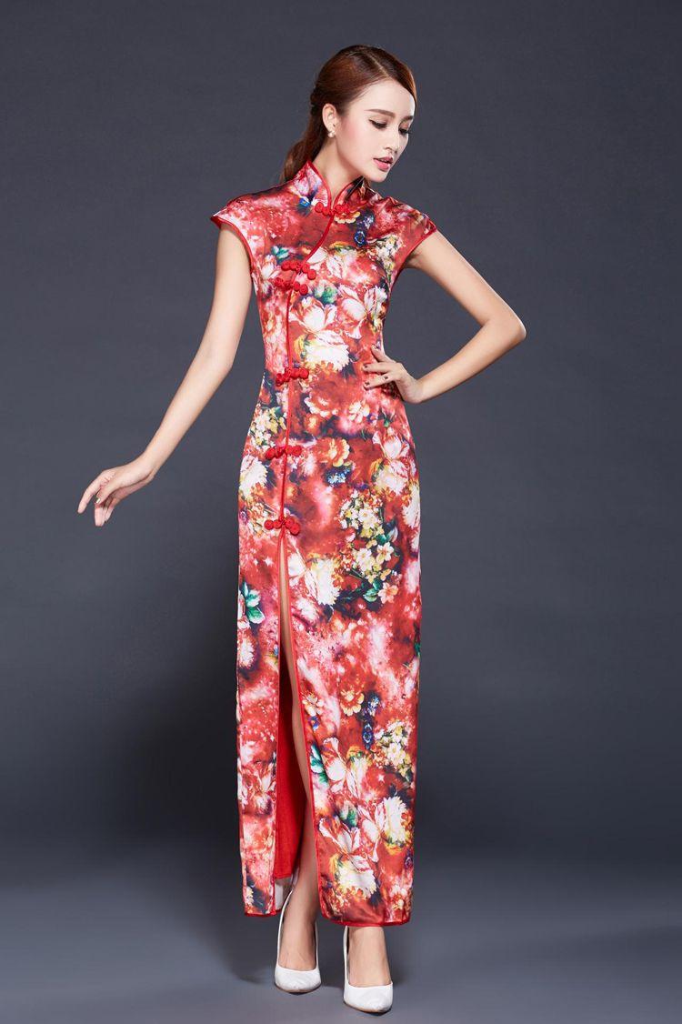 20506452677c9 チャイナドレスロングスリット 韓流 タイトウエストチャイナ服 民族風 刺繍チャイナドレス -