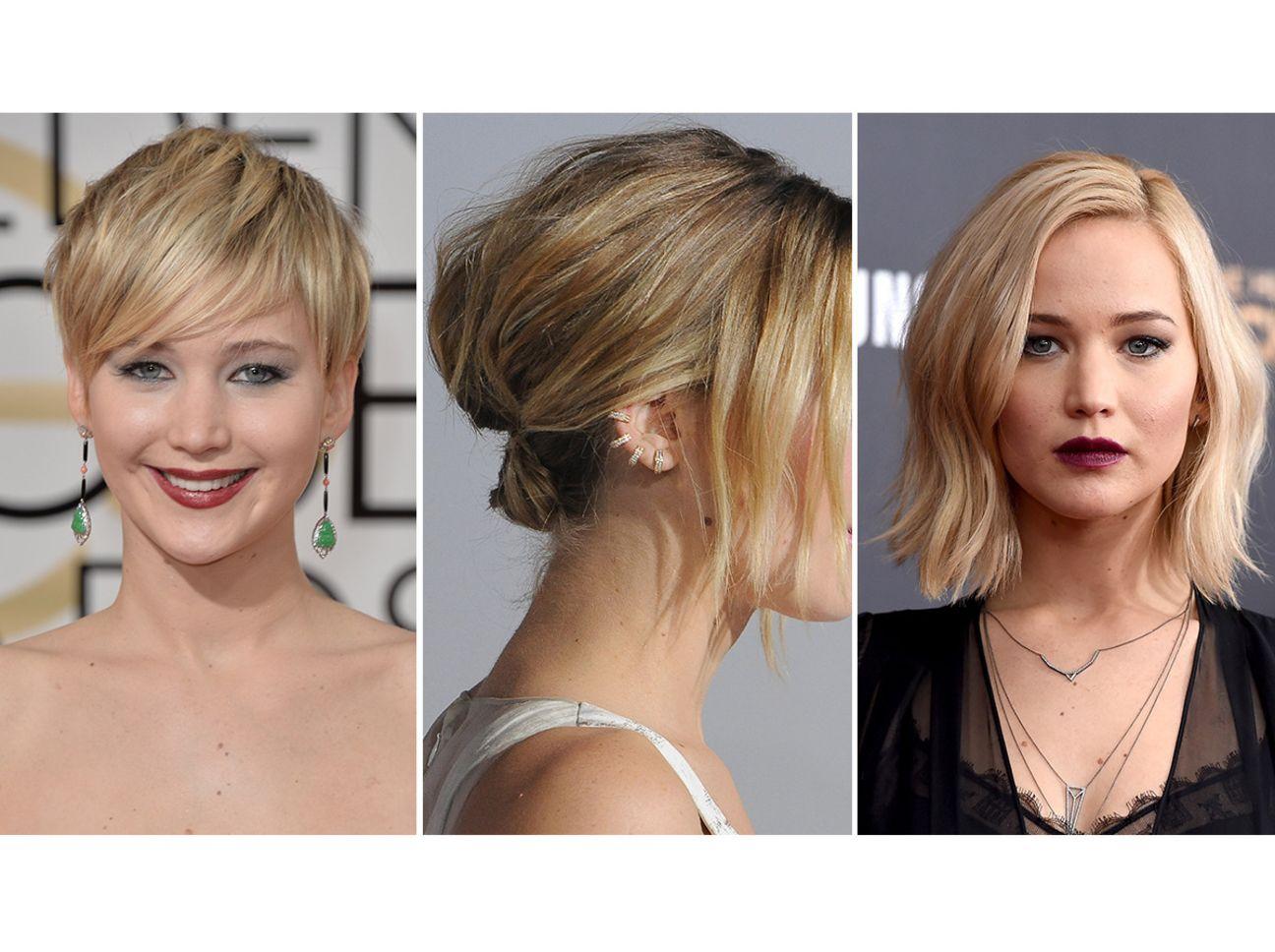 Jennifer Lawrence Ubergangsfrisur Kurze Haare Wachsen Lassen Frisuren Steckfrisuren Kurze Haare Kurzhaarfrisuren