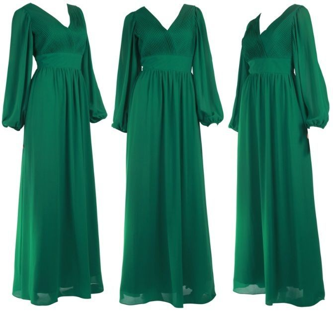 Green Womens Long Split Sleeve Pleated Ball Evening Formal Dress UK ...