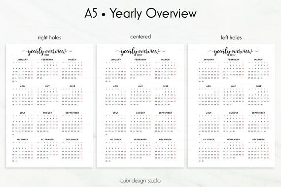 Yearly Overview 2017 2017 Calendar A5 by AlibiDesignStudio A5 - yearly calendar