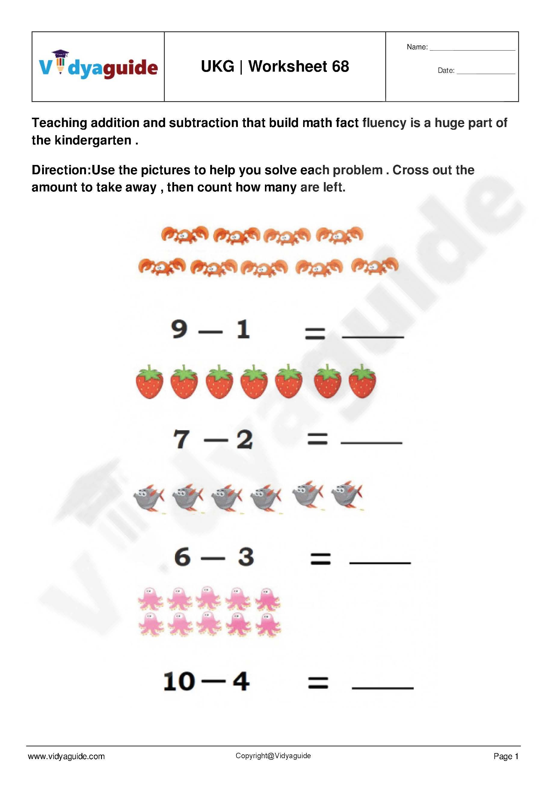 Download UKG PDF Worksheets Set 12 Kindergarten