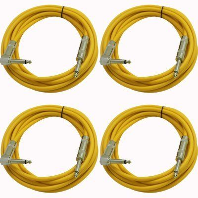 Seismic Audio Sagc10r 10 Foot 4 Pack Ts 1 4 To 1 4 Right Angle Ts Guitar Cables Yellow By Seismic Audio 27 99 Rig Guitar Cable Sound Stage Gold Tips