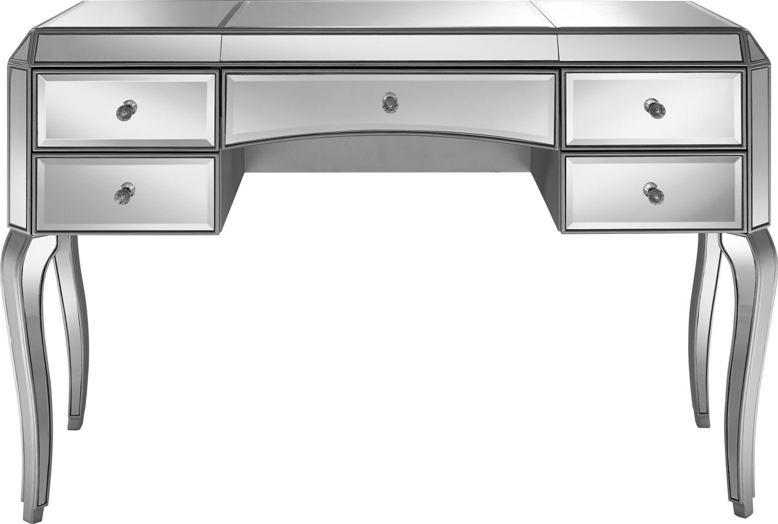 Perla Silver Desk Will Sit In Front Of The Window Silver Desk Desk Small Wood Desk