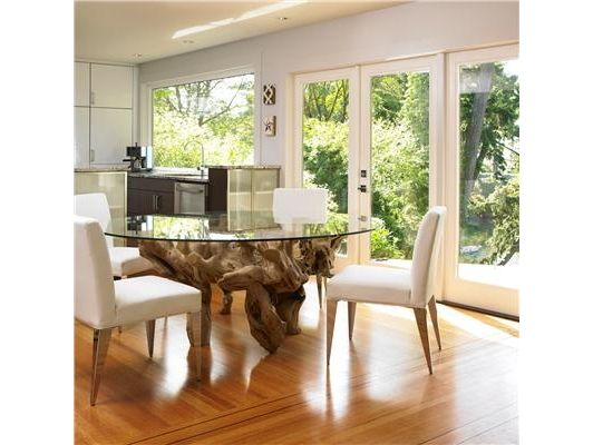Sunny Contemporary Dining Room Driftwood Dining Table Glass Round Dining Table Glass Top Dining Table