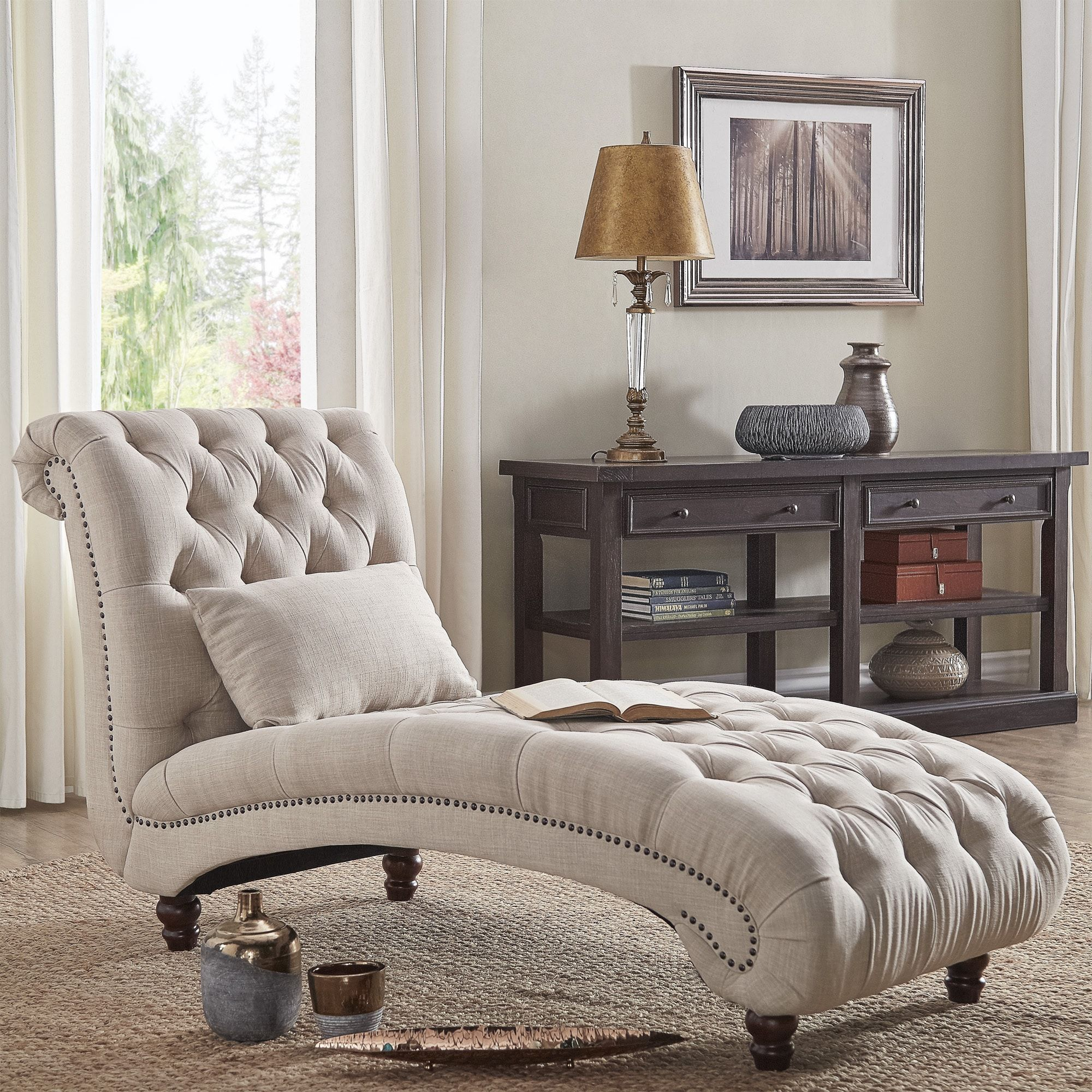 Knightsbridge Tufted Oversized Chaise Lounge by iNSPIRE Q Artisan (Beige  Linen) (Fabric)