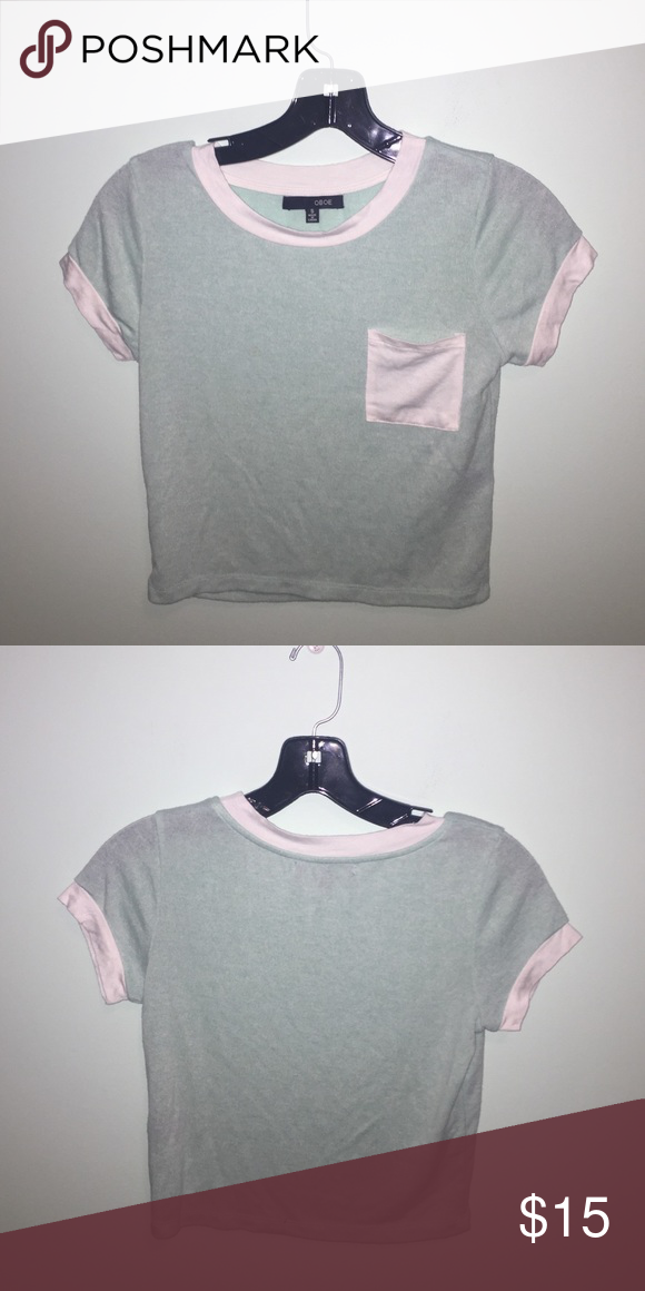 Mint Crop Top Cute mint crop top with a white pocket💘 Forever 21 Tops Crop Tops