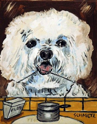 Maltese dog  art PRINT 11x14 artist animals bathroom impressionism new