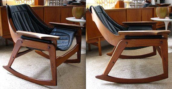 JERRY JOHNSON Mid Century Danish Modern Sculptural Lounge Rocking Chair  Sling Rocker Black Upholstery Wood Eames Wegner Mad Men U002760s Rare