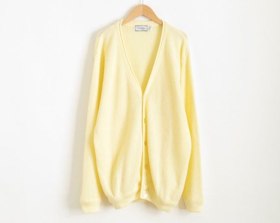 $30.50 Yellow Cardigan Pastel Goth Pale Yellow Sweater Vintage ...