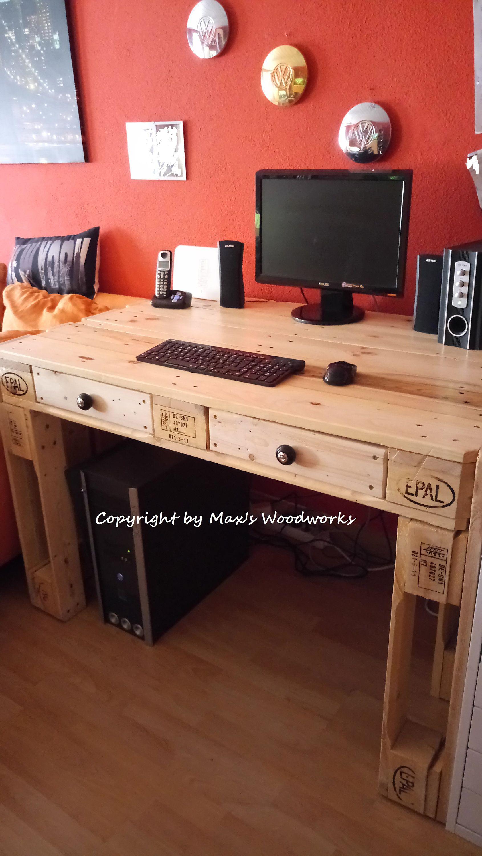 Photo of Europaletten Schreibtisch Tisch Paletten Büro Palettenmöbel …