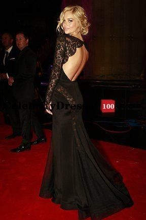 Samara weaving Black Lace Long Sleeve Open Back Gown Celebrity ...