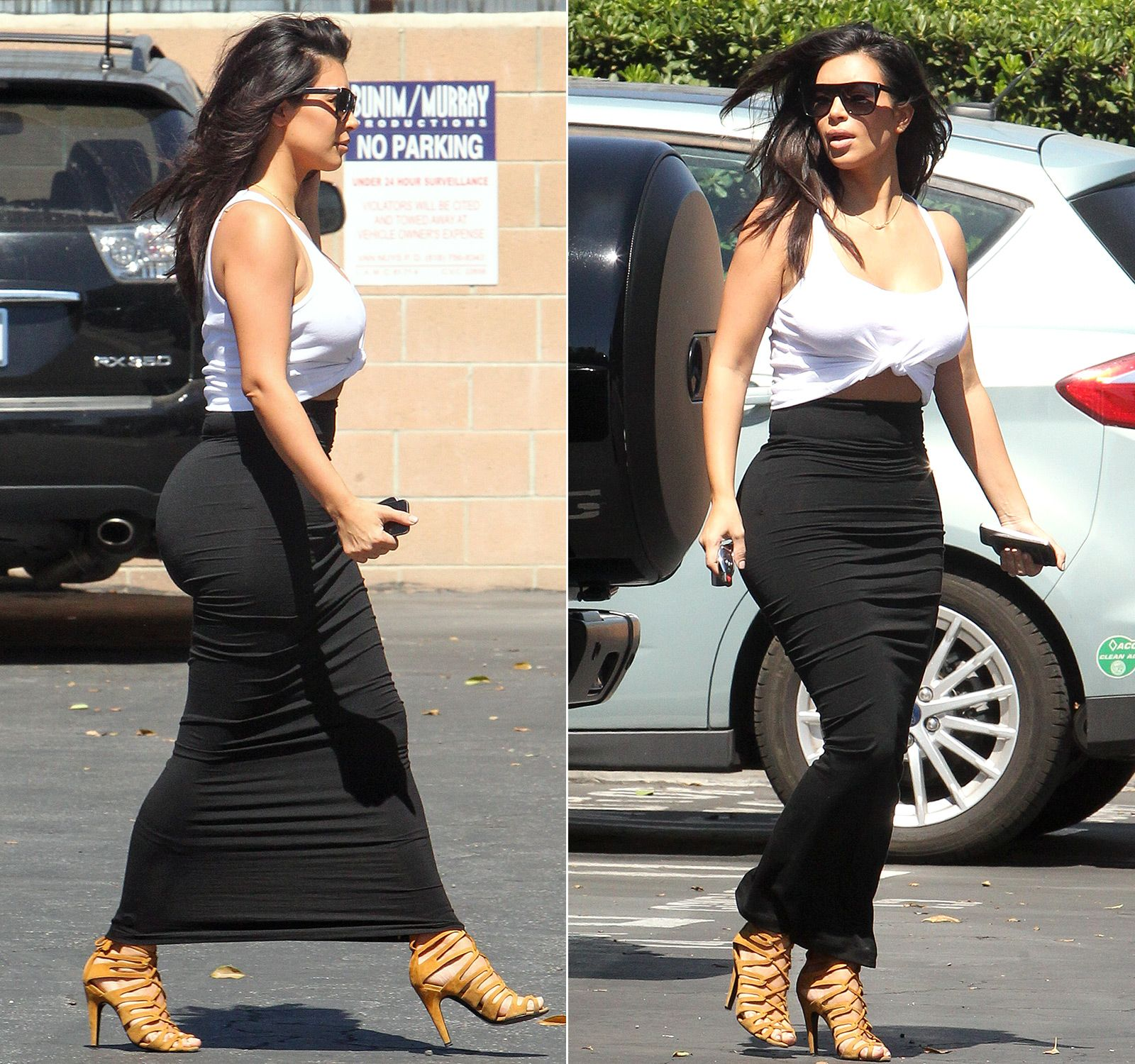Keeping It Cool! Kim Kardashian Wears '80s Style Top, Tight Skirts ...