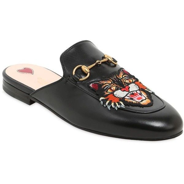 a304545106d Gucci Women 10mm Princetown Angry Cat Leather Mules (38