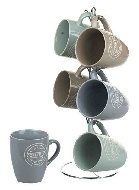 Home Basics Mug Set With Stand Coffee 6 Piece With Images
