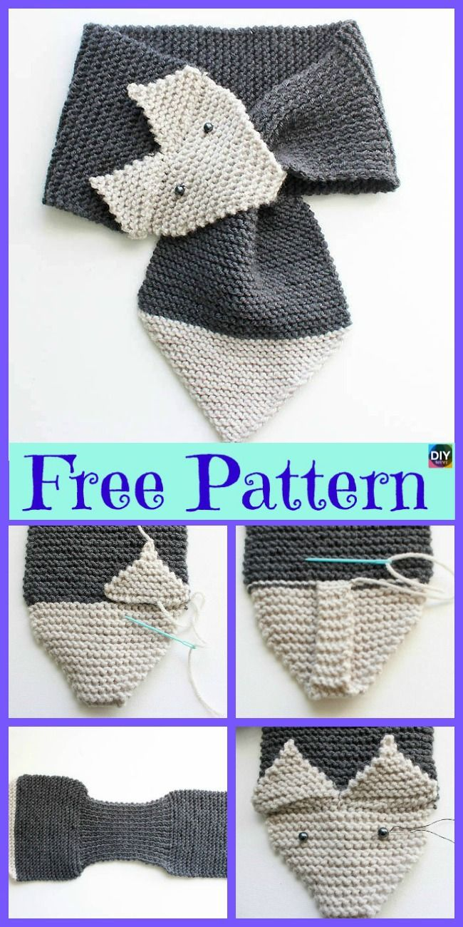 5 Cutest Knitting Fox Scarf Free Patterns | Crochet | Pinterest | Tejido