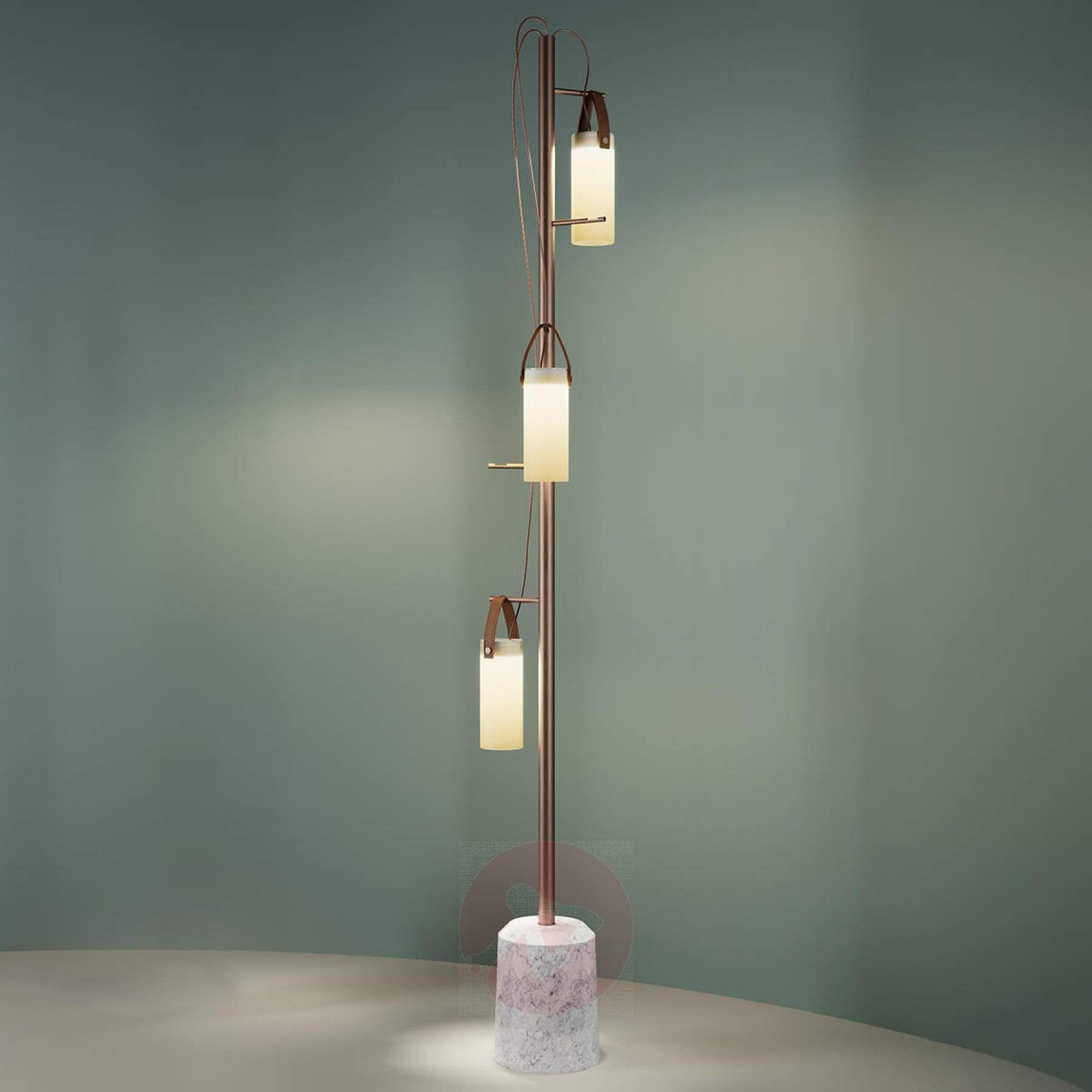 3 Punktowa Designerska Lampa Stojąca Led Galerie Marmur