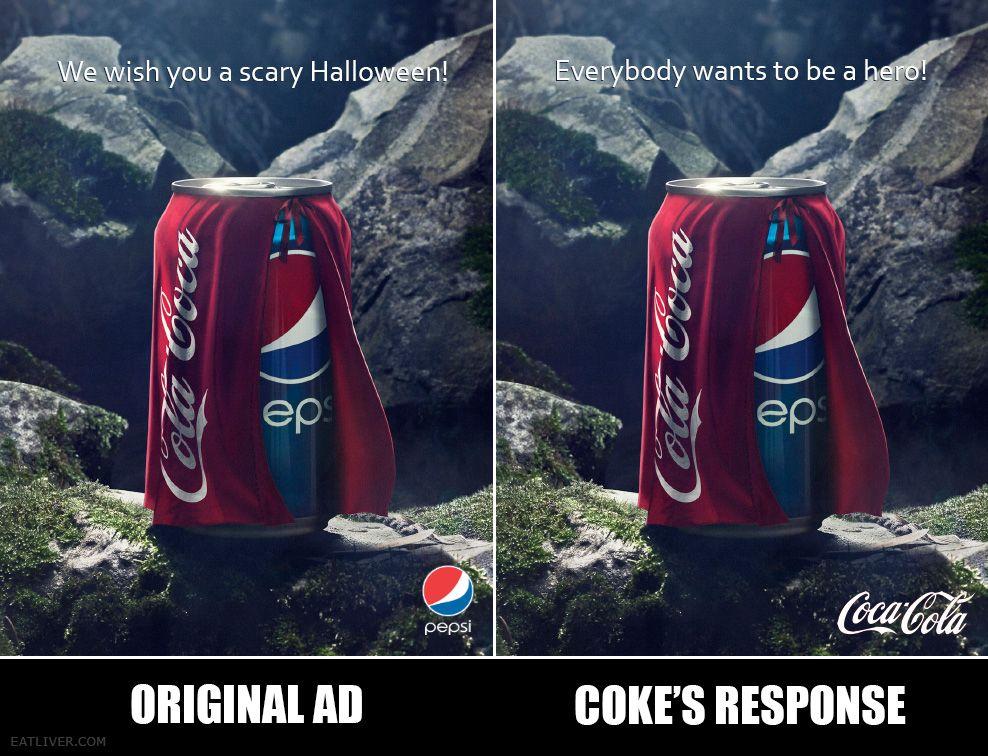 Pepsi Vs Coca Cola Halloween Ad.Pepsi Vs Coke Halloween Ad Battle Humor Pepsi Advertisement