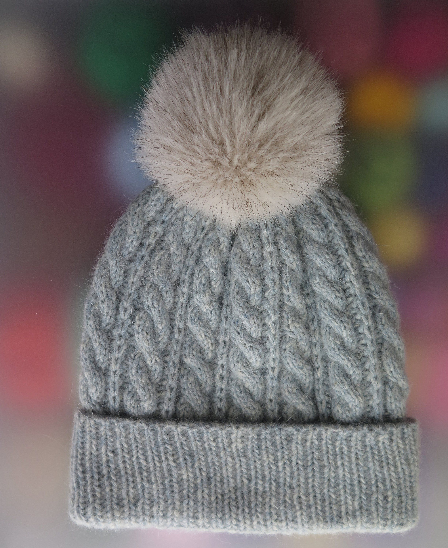 6376b422de2 Angora soft luxury hat-Hand Knitt Hat-Wool Yarn Hat-Pom Pom Hat ...