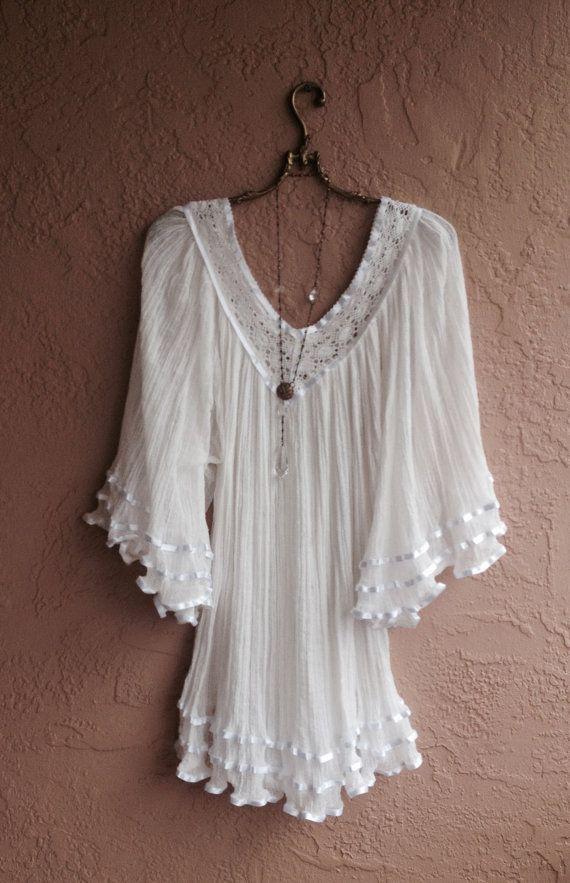 Gypsy gauze ribbon detail peasant dress tunic for by BohoAngels, $80.00